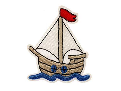 Miniblings velero de Revision Parche Maritim Parche Barco de Vela 55x46mm I Ninos Tabla de Parches Parches para Planchar