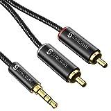 Cable de Audio RCA 1.8M, Syncwire Nylon Trenzado 3,5 mm a 2 Machos RCA Cable Estéreo Jack Compatible con Smartphones, MP3, Tablets, Cine en casa y más con Conectores RCA
