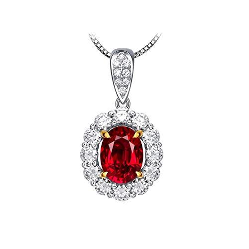 SonMo 18K Weißgold Frauen Halskette Luxus 4 Klaue Weißgold 750 Kette mit Echtem Diamond Rot Oval Rubin mit Weiß Blume Diamant Anhänger für Halskette