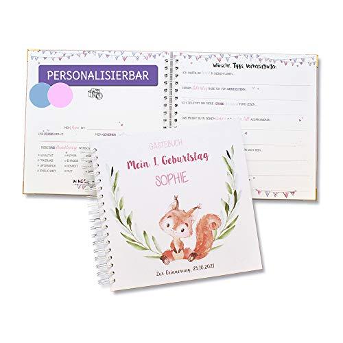 Taufe Gästebuch Album mit Fragen für Gäste, Hardcover, personalisierbar mit Namen und Datum