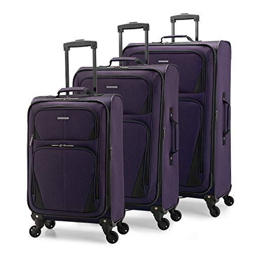 U.S. Traveler Aviron Bay Expandable Softside Luggage with Spinner Wheels, Purple, 2-Piece Set