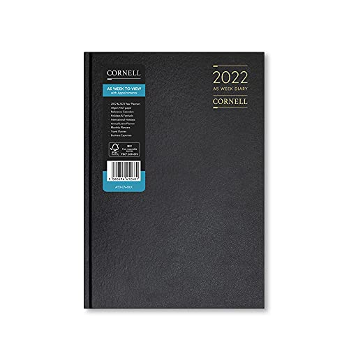 Cornell 2022 A5 Week to View Diary – Appointments – Black