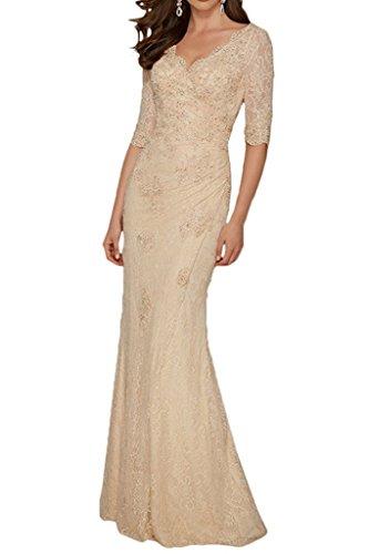 La_mia Braut Champagner Hochwertig Spitze Abendkleider Brautmutterkleider V-Ausschnitt Etuikleider Bodenlang-38 Champagner