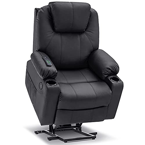 Mcombo Electric Power Lift Recliner Chair Sofa with Massage and Heat for Elderly, 3 Positions, 2 Side Pockets and Cup Holders, USB Ports, Faux Leather 7040 (Medium, Black)