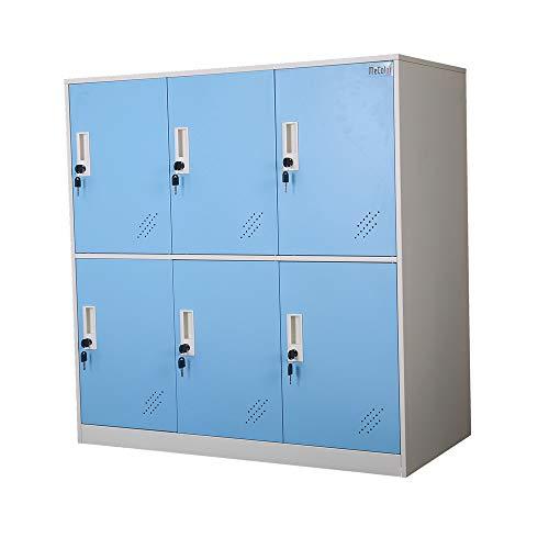 MECOLOR - Armario Tipo taquilla, metálico, para oficinas, para empleados - Azul - 6D
