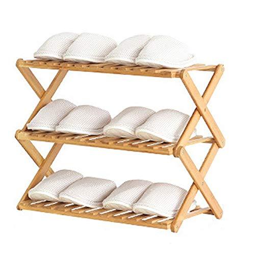 JIADUOBAO Zapatero de bambú de 3 niveles para equipaje de bambú plegable, estantes de zapatos, soporte de exhibición de plantas, organizador de almacenamiento de 46 cm, sin instalación (color natural)
