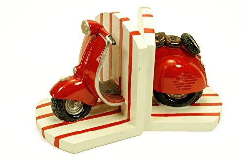 CAPRILO Figura Decorativa Infantil Sujetalibros Moto Vespa Roja Esculturas Resina. 2 x (12 x 12 x 14 cm.)