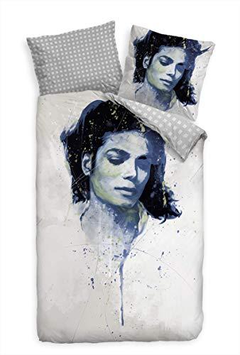 Paul Sinus Art Bettwäsche Set 135x200 cm + 80x80cm Michael Jackson sinniges Motiv Super hochwertige Atmungsaktive Hypoallergen Mikrofaser Bettwäsche Garnitur