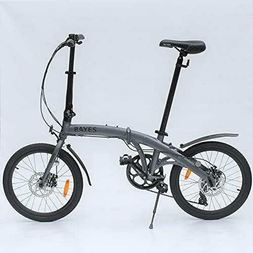 Bayes–Bicicleta plegable de aluminio Shimano, de 20 pulgadas con 8velocidades, con frenos de disco, color grau seidenmatt, tamaño 86 x 32 x 67 cm, tamaño de rueda 20.00 inches