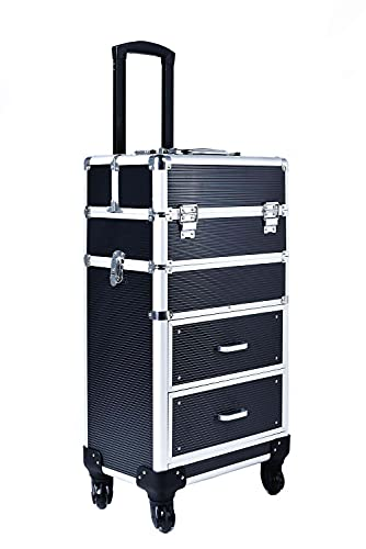 Rolling train case with drawers Makeup rolling train case Cosmetic organizer Makeup traveling case Makeup trolley (Black)
