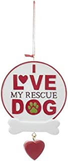 KA Kurt Adler Dog Rescue Personalizable Christmas Holiday Ornaments ~ Three Phrases to Choose from (I Love My Rescue Dog)
