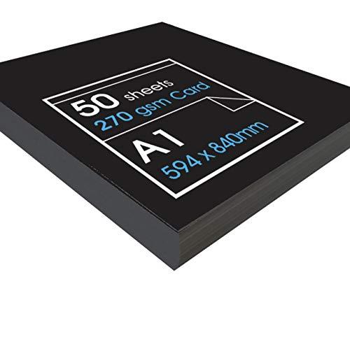 Artway - Recycelter Karton - 270 g/m² - Größe A1, A2 & A3 - Schwarz - A1-50 Blatt