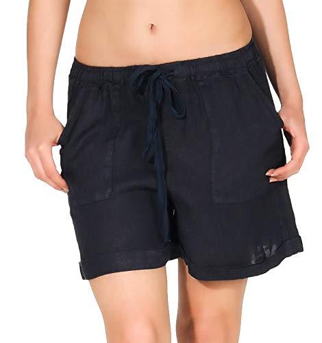 malito dames shorts uit linnen   ruimzittende bermuda   Korte broek   Pants voor aan het strand - Hotpants 1965 (donkerblauw, L)