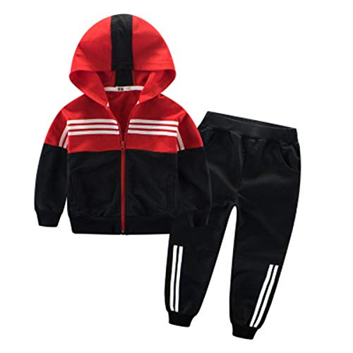 Elonglin Unisex Kinder Jungen Mädchen Sportkleidung Sets Sport-Oberteile Sport-Hose Kontrastfarbe Baummwolle Hosen mit Shirt Sets Rot-Schwarz 120CM