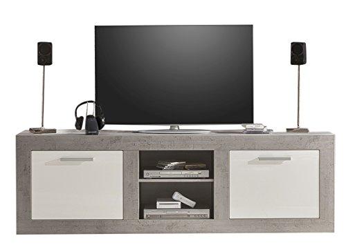 trendteam Wohnzimmer Lowboard Fernsehschrank Fernsehtisch Pure, 210 x 68 x 50 cm in Korpus Beton Stone Dekor, Front Weiß Hochglanz mit viel Stauraum