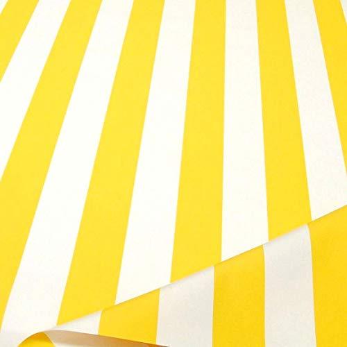 TOLKO Sonnenschutz Markisen-Stoffe als Meterware Zum Nähen mit UV-Schutz 50+ | Wasserdicht, Extra Langlebig - Ohne Ausbleichen (Gelb Weiß)