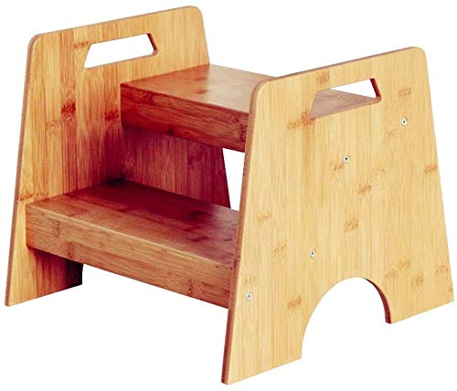 MY1MEY 2-Stufen Kinderschemel Tritthocker, Bambus Hocker für Kinder Kleinkind Tritthocker, Kleine Küche & Bad, Töpfchen Trittschemel Tragbare integrierte Tragegriffe