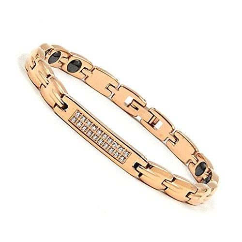 Lobykaゲルマニウムブレスレットレディースチタン合金ヘマタイトピンクゴールド磁気ブレスレット腕輪