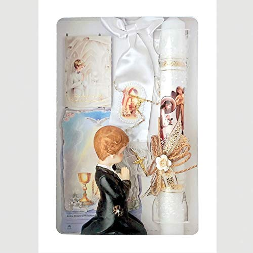 Spanish Handmade First Holy Communion Set for Boy Holy Candle, Missal, Illustrated Armband, Clear Bead Rosary, Scapular and Praying Boy Statue –Religious Gift