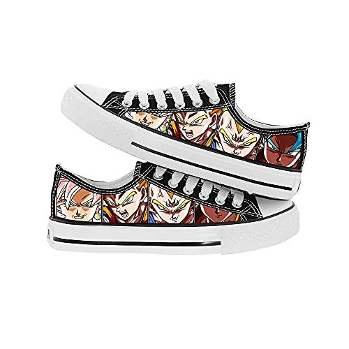 JPTYJ Cómic de Dibujos Animados Son Goku/Vegeta IV Zapatos de Lona Unisex Zapatos Casuales para Estudiantes de Anime Zapatillas con Cordones C-43