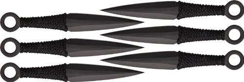Set of 6 Ninja Stealth Black Tactical Throwing Knives with Nylon Case