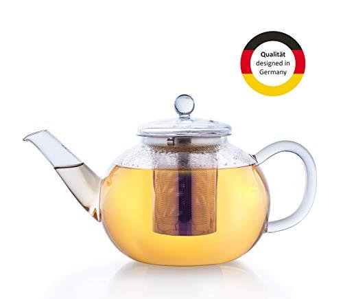 Creano Glas-Teekanne 1,6l, 3-teiliger Teebereiter mit integriertem Edelstahl-Sieb und Glas-Deckel, ideal zur Zubereitung von losen Tees, tropffrei, All-in-one