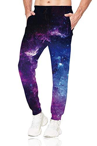 Belovecol Galaxy Sweatpants for Men Women 3D Print Space Pants Rave Jogger Pants Gym Trousers M