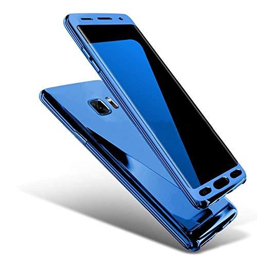 Uposao Miroir Coque pour Galaxy S7 Edge 360 Degrés Intégrale Full Body Coque Avant et Arrière Film Protection Bling Paillette Glitter Miroir Clear View Dur PC Coque Housse Etui Galaxy S7 Edge,Bleu