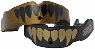 Battle Fangs Football Mouthguard – Sports Mouth Guard with Removable Strap – Protector Mouthpiece Fits With or Without Braces on Teeth – Adult & Youth Mouth Guard Sizes, 2 Pack