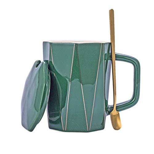 Xiaobing Taza de cerámica geométrica Creativa con Tapa y Cuchara Taza de café Regalo Pareja Taza de Agua Rayas -Set-Verde oscuro-400ml-G905