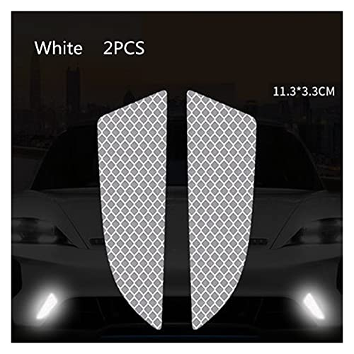 HYSJLS 6 unids/Set Reflector Cinta Reflector Protectora Protectora Pegatina rasguños de Seguridad Advertencia reflexivo Auto Pegatinas acesorio Cascos Scooters (Color : White)