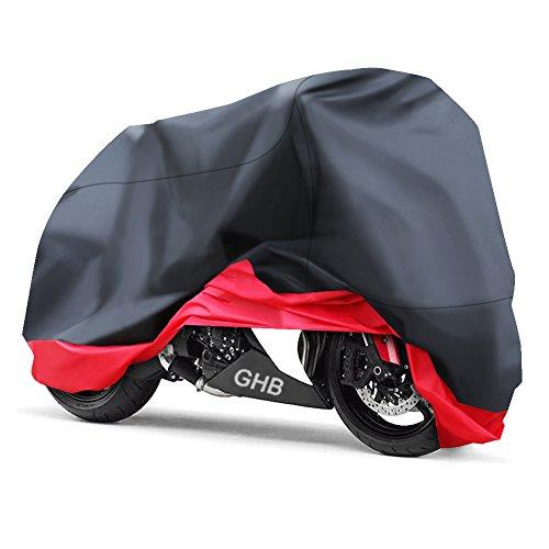 GHB XXL Coprimoto Telo Motociclo Copri Scooter Impermeabile Antipolvere Anti UV Traspirante Universale 265 x 105 x 125 cm - Nero Rosso