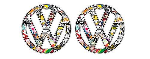 Artstickers4U Stickerbomb Auto Aufkleber passt zu Volkswagen VW / Plus Schlüsselringanhänger Kokosnuss-Schale / Polo Golf Touran Sharan Passat Scirocco Beetle Arteon Tiguan T-Roc (4 Aufkleber 10cm)
