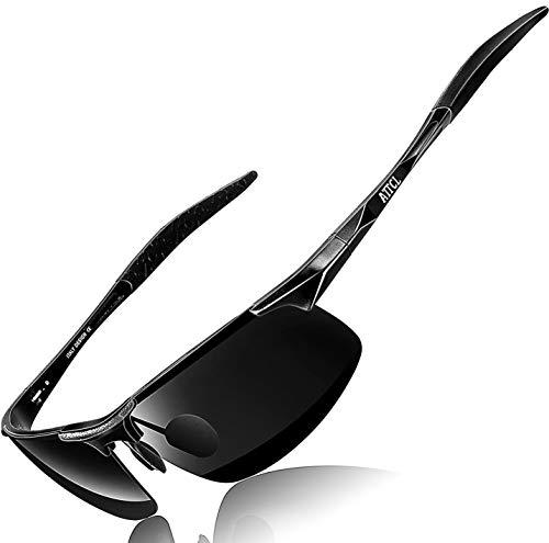 ATTCL Herren Polarisierte Treiber Glasses Sport Sonnenbrille Al-Mg Metallrahme Ultra leicht 8177 Black