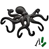 Octopus Key Holder for Wall Cast Iron Key Hooks Decorative Rustic Towel Hooks Wall Mounted Heavy Duty Coat Hooks with 6 Tentacles for Keys, Towel, Bags, Hat, Cup, Scaf