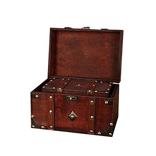 Vintage Style Trunk Treasure Box 2ST Dekorative Treasure Box Koffer Box Vintage-Nistkasten Dekorative Accessoires (Color : A, Size