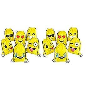 41sjt6gn6UL. SS300  - RIN Emoji Party Favors Emoticon Surtido de Lazo Mochilas, 24 Piezas