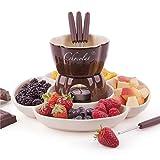 Juego de fondue para chocolate, queso, porcelana, accesorios de cocina con capacidad de 250 mm y 4 velas de té, trípode de cerámica en placa de 26 cm, incluye 4 tenedores de fondue