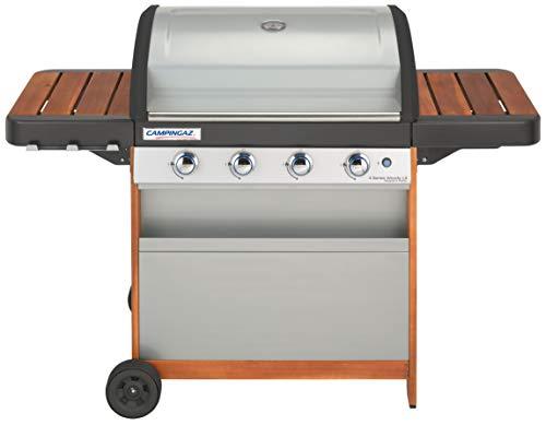CAMPINGAZ Barbecue à gaz 4 Series Woody LX, BBQ Barbecue Chariot en Bois avec 4 brûleurs, Support INOX avec Couvercle et thermomètre, Insta Système de Nettoyage Clean et Culinary Système modulaire