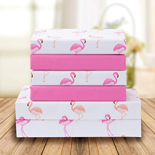 Elegant Comfort Ultra-Soft Double Brushed 6-Piece Microfiber Sheet Set. Beautiful Tropical Patterns, and Vibrant Solid Colors, Luxury, All-Season Bed Sheet Set - Flamingo, King