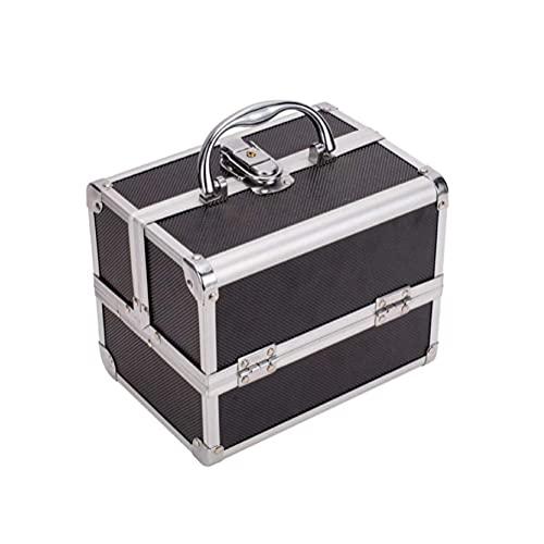LIXFDJ Boîte de rangement pour cosmétiques avec 6 compartiments pliables pour maquillage professionnel de qualité supérieure (couleur : noir)