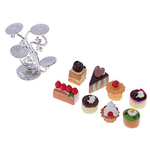 D DOLITY 1:12 Puppenhaus Küchenzubehör - Miniatur Kuchen Brot Kaffeemaschine - # D -9pcs