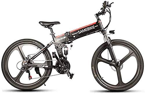 RDJM Bici electrica Bicicleta eléctrica Plegable, de 26 Pulgadas de montaña Bicicleta eléctrica, 48V de Litio de la batería del vehículo eléctrico, Velocidad 21 10AH350W Super Motor Fuerte, Negro