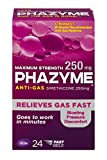 Phazyme Maximum-Strength Gas and Bloating Relief, 250 mg Simethicone, FAST GELS, 24 Count