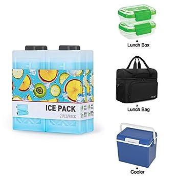TOURIT Bloc Refrigerant Réutilisables pour Sac à Dos Isotherme Longue Durée Blocs de Glace pour Glacières, Sacs à Lunch, Camping, Plages, Pique-niques, Pêche et Plus (Lot de 4)