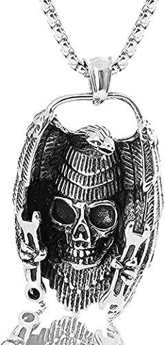 Collar para mujer Collar para hombre Collar con colgante Personalidad retro Collar con colgante de moda Joyería de cabeza fantasma de acero inoxidable Cráneo de acero Collar con colgante de acero inox