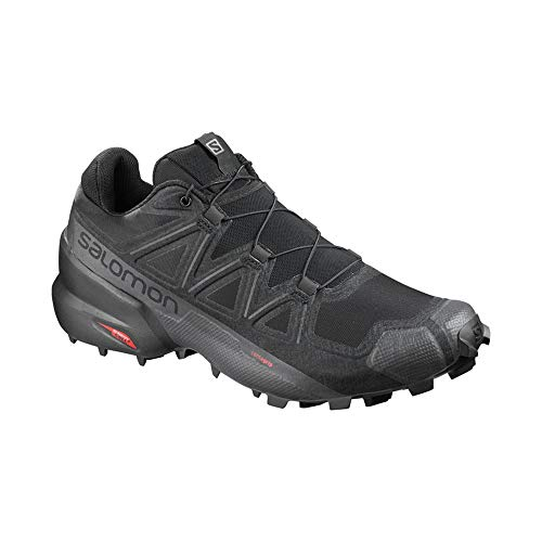 Salomon Men's Speedcross 5 Trail Running Shoe, Black/Black/PHANTOM, 11.5 Wide