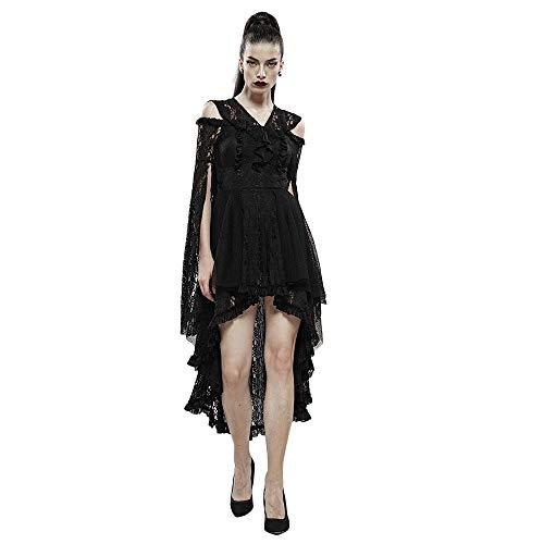 Punk Rave Damen Halloween-Kleid Hexe Spitze unregelmäßiges Kleid, sexy schulterfrei Gothic-Kleid mit Kapuze Gr. XL-XXL, Schwarz