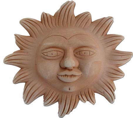 Deko Wandbilder -Sonne und Mond- aus italienischem Terrakotta in verschiedenen Größen -frostfest und witterungsbeständig- QUALITÄTSWARE schöne Dekoration für Garten, Terrasse oder Balkon (Sole 30cm)