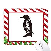 ペンギンの黒と白の動物 ゴムクリスマスキャンディマウスパッド